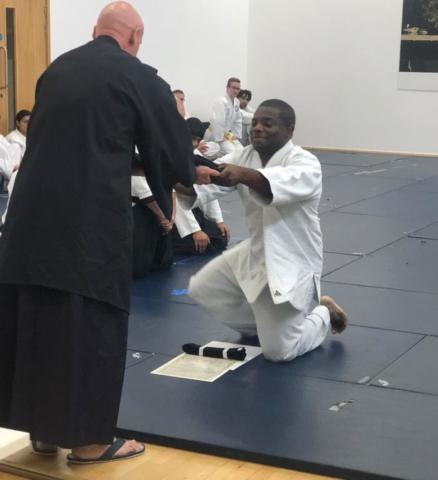 Victor receiving his hakama